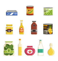 Canned goods set vector