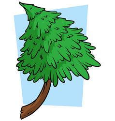 cartoon green fir tree on blue background vector image