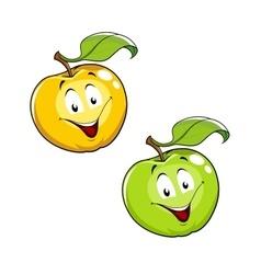 Cartoon ripe fresh apple with leaf vector