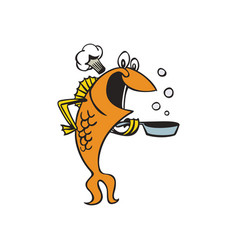 chef fish character cartoon vector image