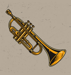 Colorful brass trumpet concept vector