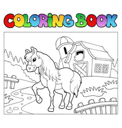 Coloring book with farm and horse vector