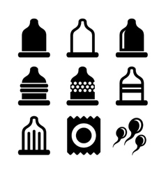 Condom Icons Set vector