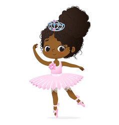 Cute african princess girl ballerina dance vector
