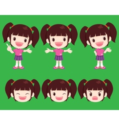 Cute girl actions vector