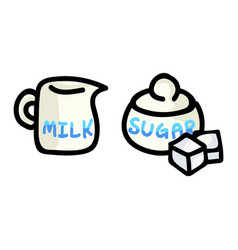 Cute milk jug and sugar pot cartoon vector