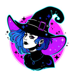Cute young witch withbeautiful iridescent hair vector