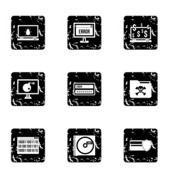 Data theft icons set grunge style vector
