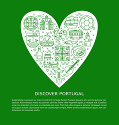 Discover portugal concept with icons in line style vector