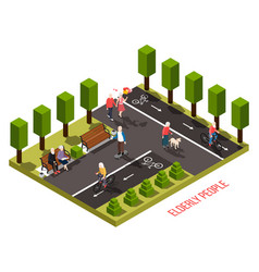 Elderly people isometric composition vector