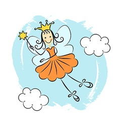 Fairy princess with magic wand vector