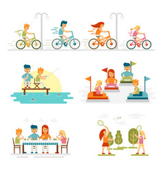 Family cartoon set with celebrations holidays and vector