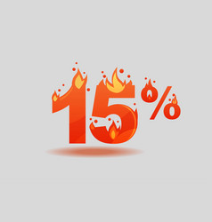 Fifteen percent discount numbers on fire vector