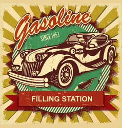 Filling station retro poster vector