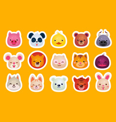 Flat set of cute animal faces pig panda vector