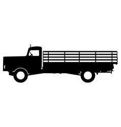 Flatbed truck silhouette vector image