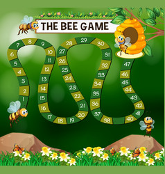 game template with bees flying in garden vector image