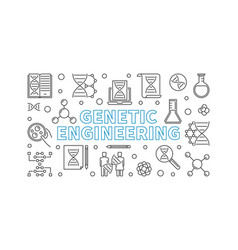 Genetic engineering outline banner or vector