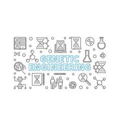 Genetic engineering outline banner vector