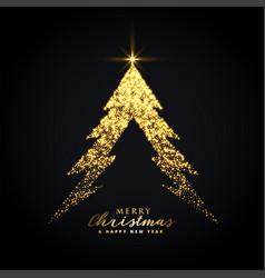 Golden glowing merry christmas tree creative vector