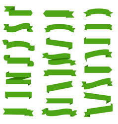 green ribbon set in isolated white background vector image