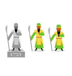 Guan yu - chinese warrior isolated on white vector