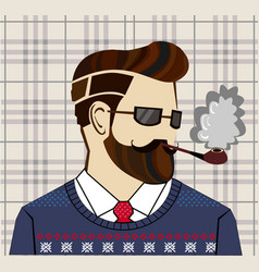 Hand drawn hipster man concept vector