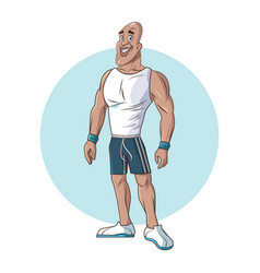 Healthy man athletic muscular vector