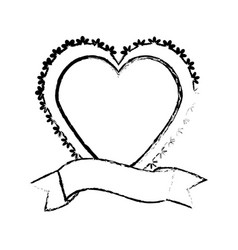 Heart label ribbon decorative sketch vector