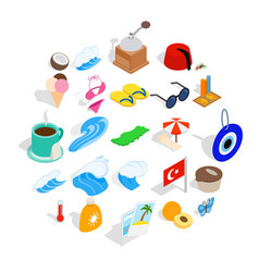 holiday in turkey icons set isometric style vector image