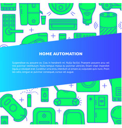 Home automation banner template in line style with vector