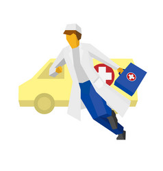 Hurrying doctor with ambulance car at the back vector