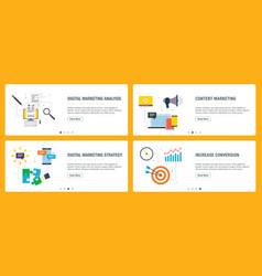 internet banner set with marketing digital vector image