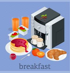 Isometric breakfast and kitchen equipment concept vector