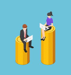 isometric businessman and businesswoman working vector image