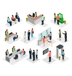 Isometric people in bank collection vector