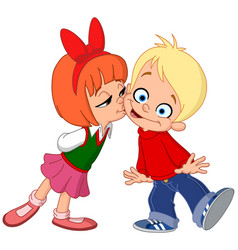 kids kissing vector image