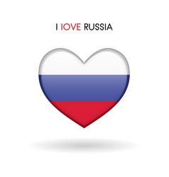 love russia symbol flag heart glossy icon vector image