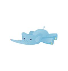 Lying baby elephant light blue lovely animal vector