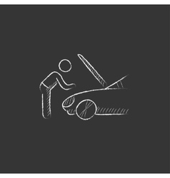 Man fixing car Drawn in chalk icon vector