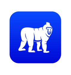 Mandrill monkey icon digital blue vector