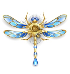 Mechanical Dragonfly on a White Background vector image