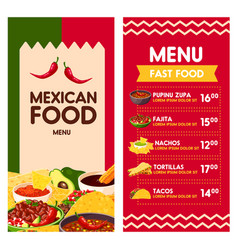 Mexican menu for cinco de mayo holiday vector