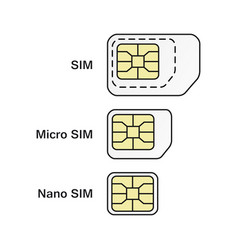 Mobile phone card symbol set normal micro nano vector