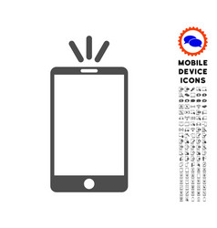 Mobile torch icon with set vector