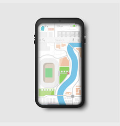modern black phone gps navigation map vector image