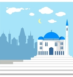 mosque on background islamic city vector image