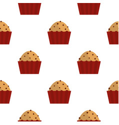 Muffin with raisins pattern seamless vector