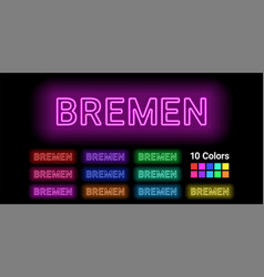 Neon name of bremen city vector