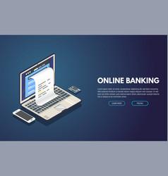 Online banking banner vector